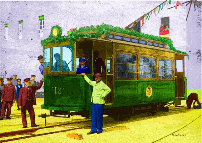 Vagón número doce, el primer tranvía que recorrió la ciudad desde 1906 hasta 1952